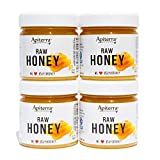 Apiterra - Raw Honey - 100% Pure, Natural and Unfiltered - 8 Ounce, 4 Count (total 32 ounce)