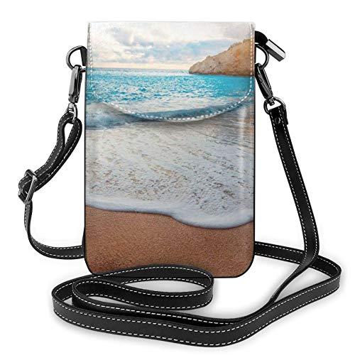 Bolso ligero del teléfono celular de la PU, del agua se apresura a la playa tropical pequeño bolso crossbody bolso bolso del hombro de la cartera de Pounch para las mujeres