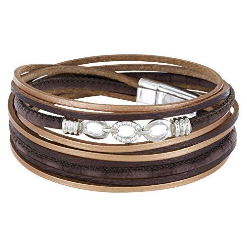 StarAppeal Armband Wickelarmband in Leder mit Schmuck, Strass und Magnetverschluss Silber, Damen Armband (Braun-Gold)