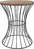 Meinposten. Holz Beistelltisch Metall Deko Tisch Couchtisch Nachttisch Korb schwarz