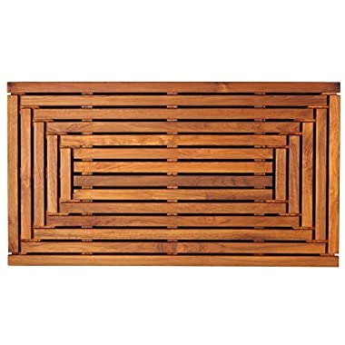 Bare Decor Giza Shower, Spa, Door Mat in Solid Teak Wood and Oiled Finish 35.5  x 19.75