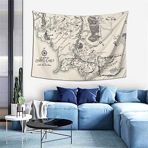 commix.x Middle Earth Map Tapestry Ultra-Soft 3D Hd Prin Wall Art Hanging Decor Blanket Tapestry for Room Dorm 60x40 Inches