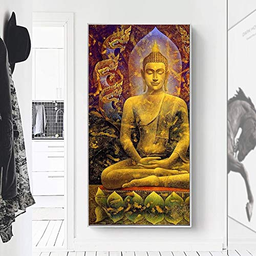 KWzEQ Póster de Pintura de Lienzo de Buda Dorado Abstracto e impresión de Imagen de Arte de Pared Moderno para decoración de Sala de Estar 50X100cmPintura sin Marco