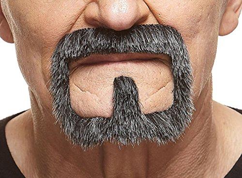 Mustaches Selbstklebende Neuheit Van Dyke Fälscher Bart Falsch Gesichtsbehaarung Kostümzubehör für Erwachsene Salz und Pfeffer Farbe