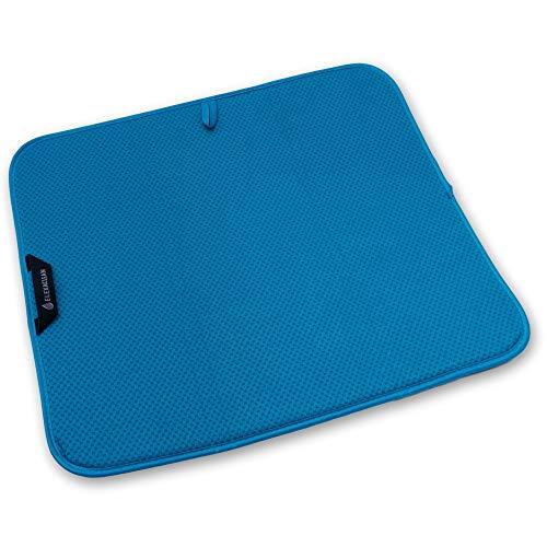 Esterilla de goteo ELEXCLEAN, protección de microfibra para cocina, fregadero y vajilla (44 x 41 cm, turquesa/azul verde), alfombrilla para secar como escurridor.