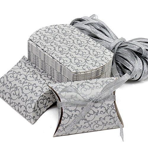 HSeaMall Kraft Papier Candy, Geschenk-Box Kissen Box für Hochzeit Geburtstag Party 50 - Silver Box 50PCS