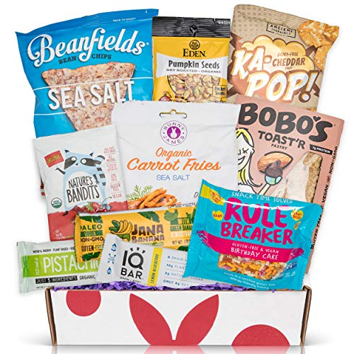 Vegan and Gluten Free Snack Box Care Package - Mix of Vegan Chips, Protein Bars, Cookies, Vegan Jerky, Fruit Vegan and Gluten Free Sampler Gift Box (10 Count)