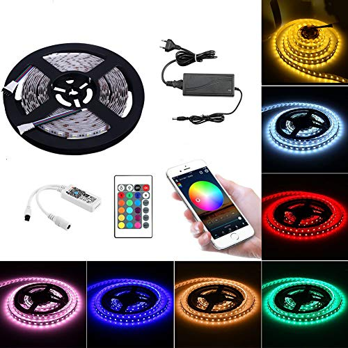 Wifi Led Strip RGBWW Set Funziona con Alexa, Google Home, IFTTT, Wifi Wireless Smart Phone Controlled (RGB + Warm White) Kit completo per strisce di luce LED 4 in 1