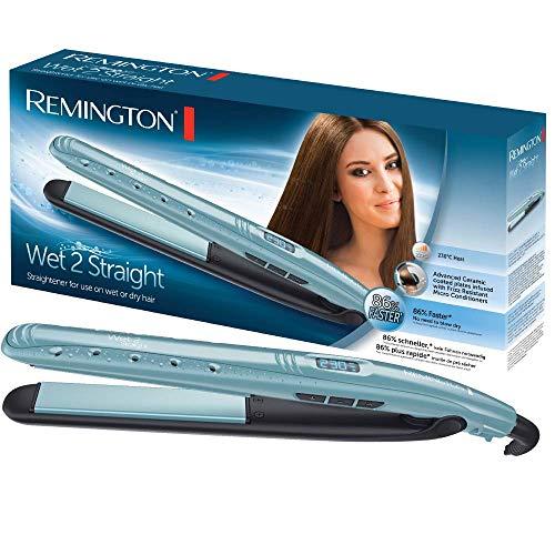 Remington Wet 2 Straight S7300 Plancha de Pelo, Cerámica, Digital, para el Cabello Seco y Húmedo, Azul Claro