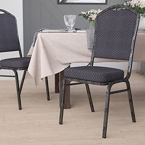 Flash Furniture HERCULES Series Crown Back Stacking Banquet Chair in Black Patterned Fabric - Silver Vein Frame