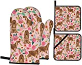Oven Mitts and Pot Holders 4pcs Set Cocker Spaniel Florals Dog Floral Flowers Dog Pattern Pink Kitchen Oven Glove and Pot Holders Non-Slip Kitchen Gloves for Cooking Baking Grilling