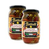 Botticelli Premium Italian Antipasto in a Jar Hot & Spicy (Pack of 2) - Italian Antipasto with Artichoke, Olives & Mushroom - For Antipasto Appetizer, Antipasto Salad & Antipasto Plates - 18oz