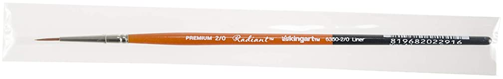 KINGART 6350-2/0 TAKLON Liner Paint Brush, 2/0, Black, Silver, Orange
