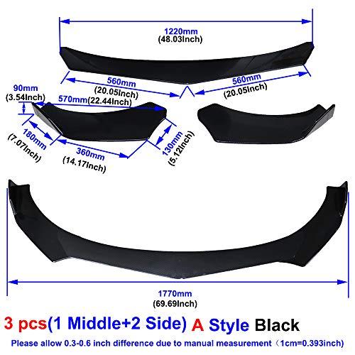 QQKLP Universal-Carbon-Faser/Black Car Frontstoßstange Lip Splitter Auto Diffusor-Schutz-Schutz,Black a01