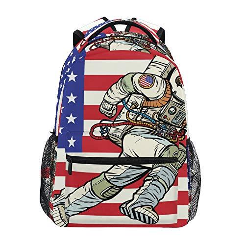 Mochila escolar ADMustwin con la bandera de Estados Unidos, astronautas de viaje, mochila ligera e impermeable, mochila para ordenador portátil, mochi...