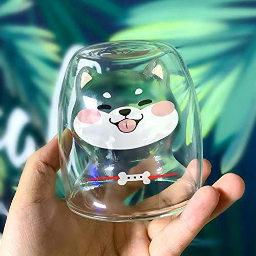 Shiba Inu Cup - Taza de cristal doble resistente al calor de...
