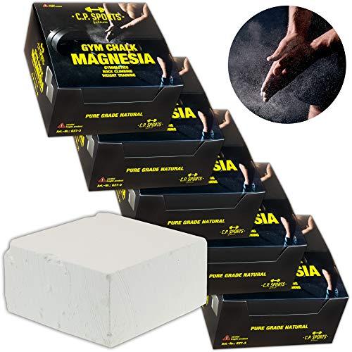 C.P. Sports 1x Karton Magnesia - 8 Blöcke je 70g – Chalk Kreide Kalk – geignet für Gewichtheben Bouldern Klettern Turnen Gymnastik Pole – Grip für Fitness & Sport