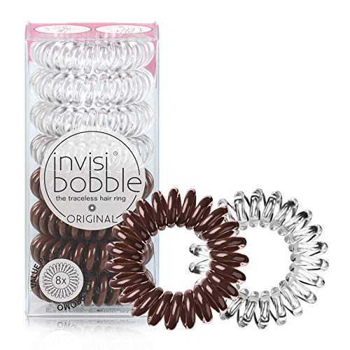 invisibobble Original Traceless Spiral Hair Ties - Pack of 8, Crystal Clear and Pretzel Brown - Strong Elastic Grip Coil Accessories for Women - Non Soaking - Gentle for Girls Teens and Thick Hair