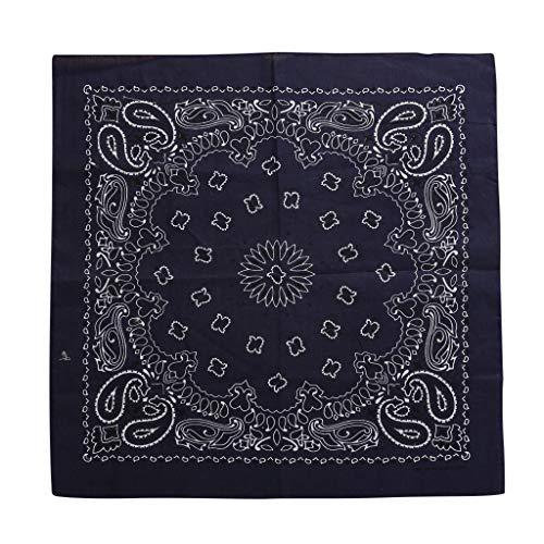 MOTOCO Bandana Kopftuch Halstuch Paisley Muster Einstecktücher Handgelenk Multifunktionstuch für Damen und Herren(55X55CM.Schwarz)