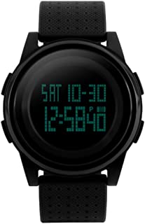 Men's Digital Sports Watch Waterproof LED Screen with Chronograph Alarm Multifunction Military Big Face Wristwatches for Men Boys-Black