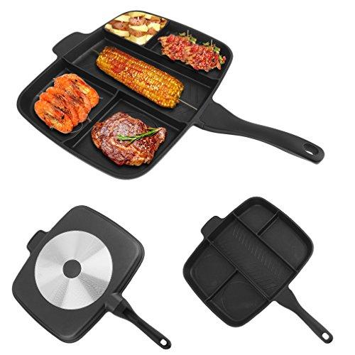 Poncherish 5 in 1 Mehrfachpfanne Grillpfanne mit Abnehmbarer Griff, 38 x 30cm, Frühstückspfanne Multifunktionspfanne, Bratpfanne für mehrere Speisen, Grill mit Mehreren Bereichen,Antihaftbeschichtung