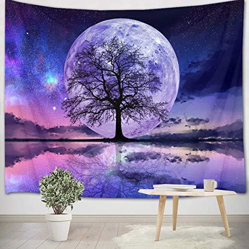 LB 200x150cm Tapisserie Murale Nuit de pleine lune Tenture Murale Arbre noir Couverture Murales Ciel étoilé Tapisseries Decoration Murales pour Maison Salon Chambre Dortoir