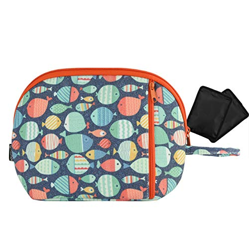 Freezable Snack Cooler Bag Breast Milk Cooler Bag Small Insulated Cooler Lunch Bag Can Coolers with 2 Separate Cooling Packs (White dots) (White dots) (Color Fishes) (Color Fishes)