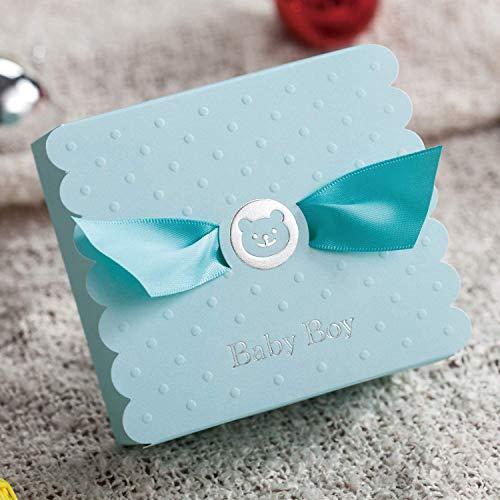 WISHMADE 50 stks Blauwe Beer Baby Douche Gunsten met Baby Jongen Chocolade Snoep Dozen voor Kids Verjaardag Gasten Party Supplies Sweet Gift Box