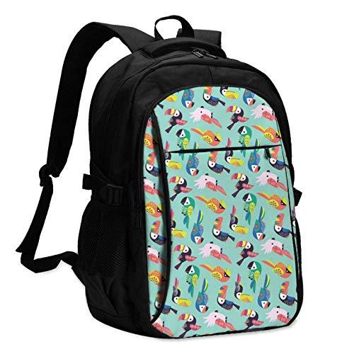 XCNGG Mochila USB con múltiples Bolsillos, Mochila Informal, Mochila Escolar Colorful Tropical Parrot Travel Laptop Backpack with USB Charging Port Multifunction Work School Bag