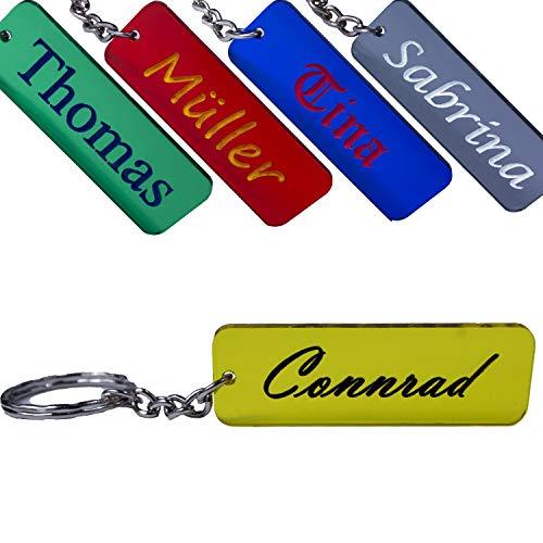 Porte-clés personnalisable avec nom et gravure personnalisable, coloré