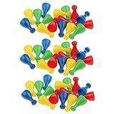 non-brand 48 Piezas de Ajedrez de Plástico Piezas de Peón Juego de Cartas de Mesa Partes de Halma Accesorios