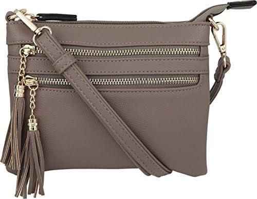 B BRENTANO Vegan Mini Multi Zipper Crossbody Handbag Purse with Tassel Accents Stone product image