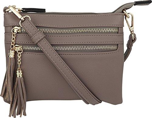 B BRENTANO Vegan Mini Multi-Zipper Crossbody Handbag Purse with Tassel Accents (Stone)