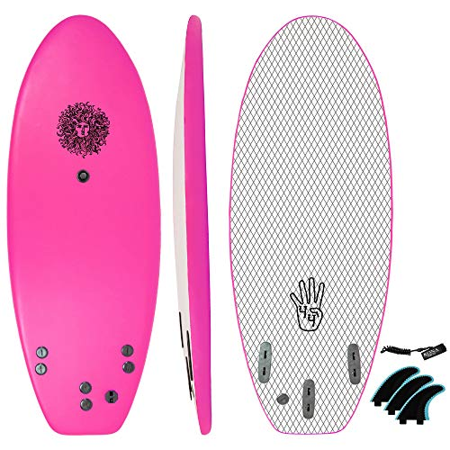 KONA SURF CO. The 4-4 Surfboard for Beginners Kids and Adults - Soft Top Foam Surfboards for Beach – Surf as a Boogie Board Bodyboard or Softboard - Includes Fins and Leash in Pink sz:4ft 4in