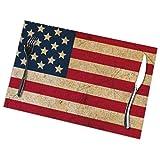 GuyIvan Juego de 6 manteles Individuales con Bandera Americana Vintage, manteles Individuales Resistentes al Calor para Mesa de Comedor, 30X45 CM