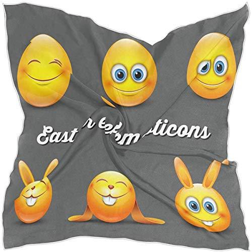 N/A Sciarpa Piazza Carino Emozioni Pasqua Uovo Coniglio Emoji Seta Come Sciarpe Leggeri Capelli Collo Wrap per Le Donne
