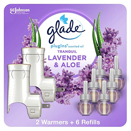 Glade PlugIns Refills Air Freshener Starter Kit, Scented Oil for Home and Bathroom, & Aloe, 2 Warmers + 6 Refills Lavender 4.02 Fl Oz