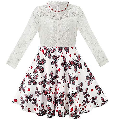 Vestito Bambina Pizzo Perla Prugna Fiorire Elegante Principessa 10 Anni