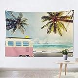ジャション ココナッツヤシの木 ハワイビーチ 壁掛 けタペストリー バス ミニバン 夏休み 壁飾り 家 リビングルーム ベッドルーム 部屋 おしゃれ飾り 150X130CM