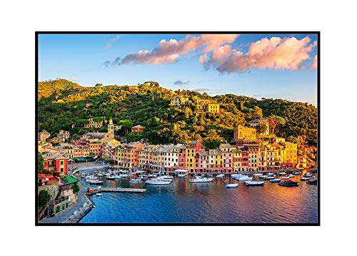 Genoa, Italy - Portofino Town on the Liguria Coast at Sunrise 9023733 (36x24 Framed Gallery Wrapped Stretched Canvas)