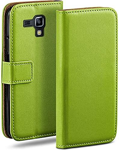 moex Klapphülle kompatibel mit Samsung Galaxy S Duos 2 Hülle klappbar, Handyhülle mit Kartenfach, 360 Grad Flip Hülle, Vegan Leder Handytasche, Grün
