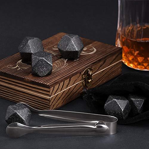 Murrano Whisky Steine Set - in Holzbox mit Gravur - 6 Eiswürfel + Zange & Velourbeutel - wiederverwendbar - aus Granit - Geschenk für Paare - Monogramm - 3