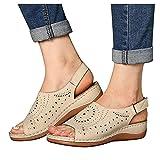 FeelFree+ Sandalias de Mujer Verano Cuña Sandalias con boca de pez sandalias para mujer Cerradas Cómodos Casual Zapatos de Playa gran tamaño huecas y transpirables 37-42