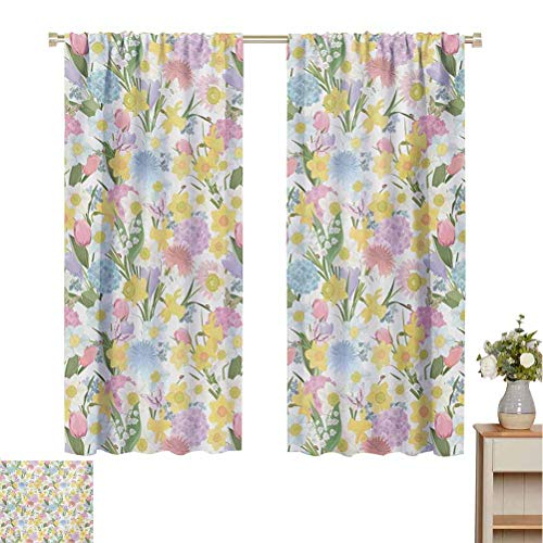 Toopeek Spring 100% blackout lining curtain Valley Flowers Medley of Lilly Hydrangea Pin Cushion Protea Gardenia and Tulips Full shading treatment kitchen insulation curtain W72 x L84 Inch Multicolor
