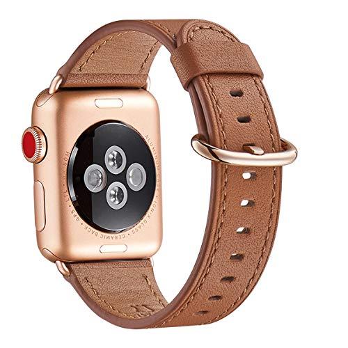 WFEAGL Kompatibel für Watch Armband 38mm 40mm 42mm 44mm,Top Grain Lederband Ersatzband mit Edelstahl-Verschluss Kompatibel für Serie 5/4/3/2/1(38mm 40mm,Braun+Roségold Adapter)