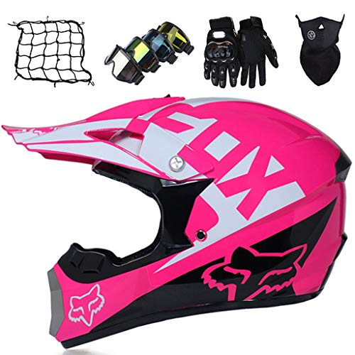 Casco da MTB Integrale, MJH-01 Casco da Cross per Bambini e Adulti Casco da Motocross con FOX Design per Moto Downhill Enduro Off-road Dirt Bike con Occhiali/Guanti/Maschera/Rete Bungy - Rosa