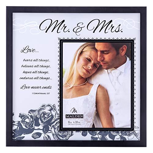 """Malden International Designs Hochzeits-Bilderrahmen aus Glas mit Aufschrift \""""Mr and Mrs\"""", 20,3 x 25,4 cm, Schwarz"""
