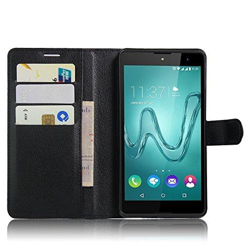 Guran? PU Leder Tasche für Wiko Robby Smartphone Flip Deckung Stehen Funktion und Karte Slot Case-schwarz…
