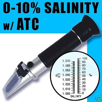 ADE Automatische Temperaturkompensation Meer Wasser Salz Salzgehalt Refraktometer für Aquarium, 0%–10% & 1.0bis 1.070S.G. Dual-Skala Hydrometer von adeadvancedoptics