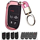 ROYALFOX(TM 2 3 4 5 Buttons TPU Smart Remote Key Fob case Cover for Chrysler 300 200 Dodge Charger Challenger Dart Durango Journey,Jeep Grand Cherokee Renegade Fiat Freemont (Pink)